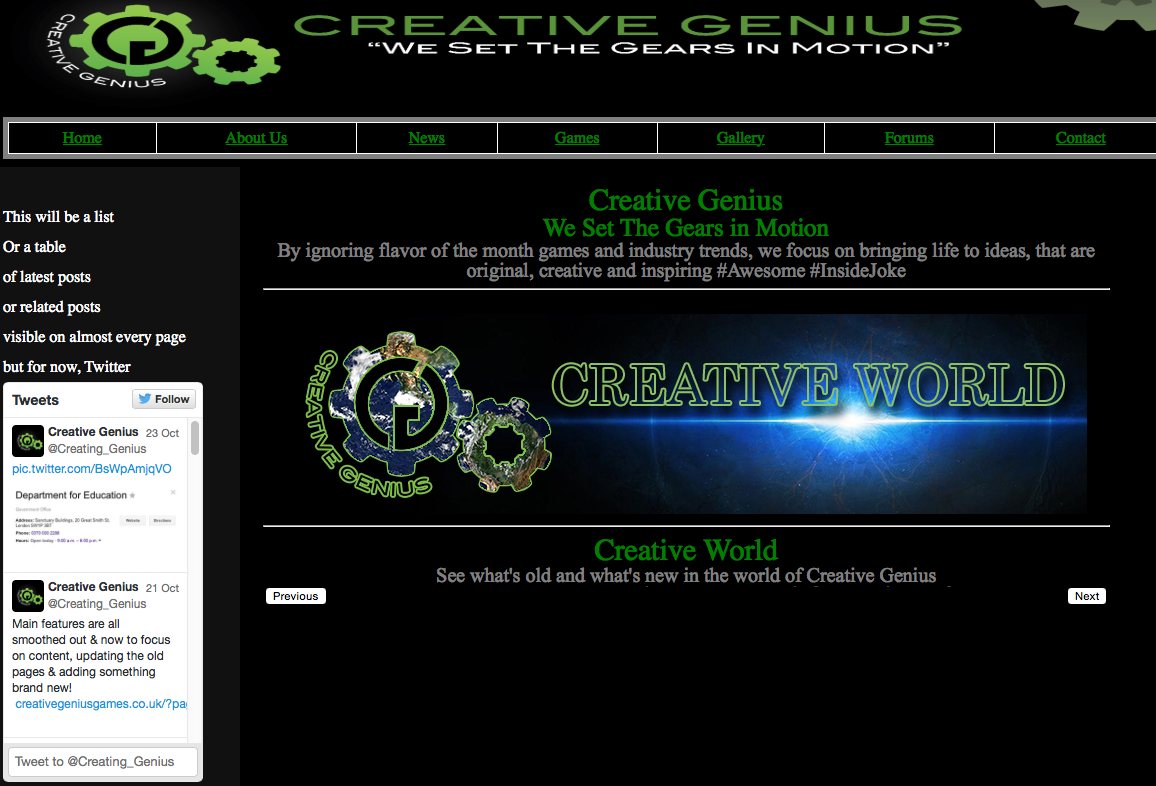 Creative Genius Homepage